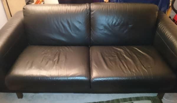 Vintage Habitat Black Leather Sofa for sale