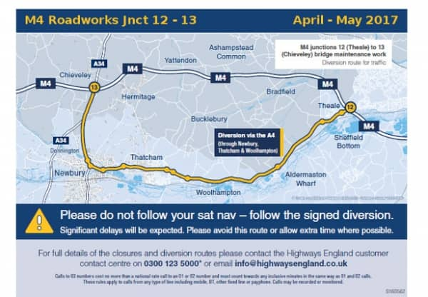Road works affecting the M4 March – May 2017